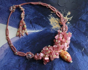 Pink Beaded Cluster Macrame Necklace or Choker ~ Delicate Pink and Yellow Macrame Jewelry ~ Unique Gift for Her