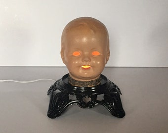 Captivating DOLL HEAD LAMP, Doll Head Light, Gothic Home Decor, Goth Decor, Goth