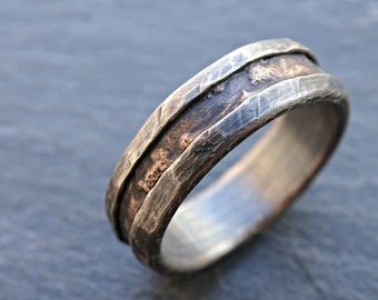 cool mens ring bronze, unique wedding band bronze silver, mens wedding band, mens engagement ring wood grain ring mens ring anniversary gift
