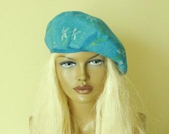 Beret Azur blue beret felted Nunofelt nuno felt beret French beret Silk wool beret
