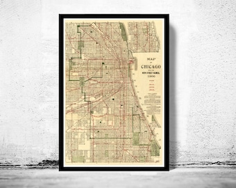 Old vintage map of Chicago 1906