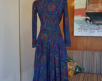 1980's Jewel Tone Long Sleeve Paisley Dress with Pockets Size S