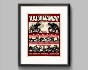 Kaijumania!! Wrestling poster Art Print - kaiju, godzilla, gamera, pacific rim, monsters, fight, japanese, cloverfield