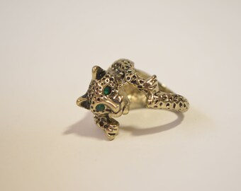 Vintage Brass 3D Leopard Wild Cat Emerald Eye Chunky Ring Size 6.5