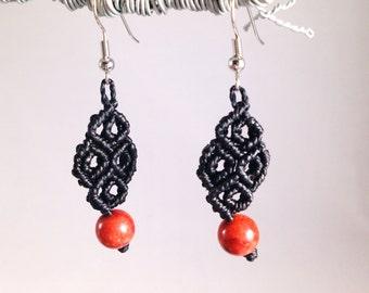 Sponge Coral and Black Macramé Earrings