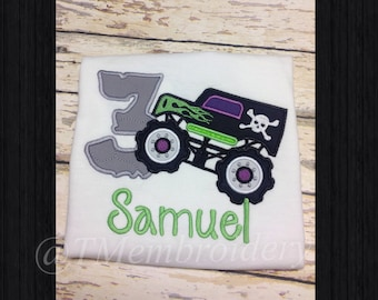 Personalized Birthday Monster Truck Appliqué Shirt