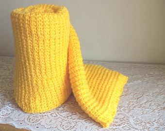Canary Yellow Hand Knit Blanket, Sunflower, Buttercup, Sunny, Afghan, Machine Wash and Dry, Warm, Cozy, Gift, Lap Blanket, Shawl, Throw