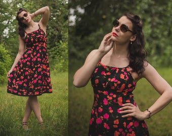 Black Floral Vintage Dress / Pink and Black Floral 60s Dress / 50s Summer Spaghetti Strap Dress / Summer Sleeveless Dress / Summer Dress