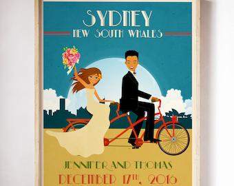 Tandem Bike Wedding Poster Personalized Wedding Gift Engagement Gift Wedding Print Newlywed Gift Romantic Gift Tandem Bicycle Wedding Art