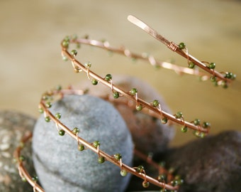 Woodland Walk bracelet, Unakite bracelet, copper bracelet, copper bangle, fairy bracelet,