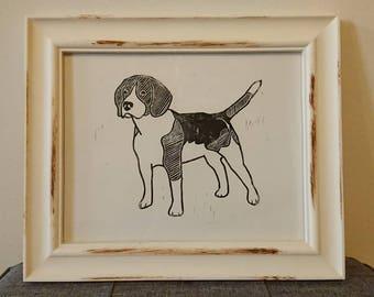 Beagle A4 Linocut Print