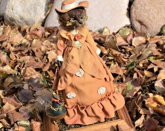 "Art Doll Sculpture,Taxidermy Mink Head Mixed Media assemblage,Ms. Erma Stoat & Pet Mr. Plumestion ,15"" tall,Leash,Cotton Spun Bird"
