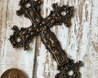 Cross Ornate Antiqued Copper Pewter Necklace Pendant, Craft, Frame, Jewelry Supplies