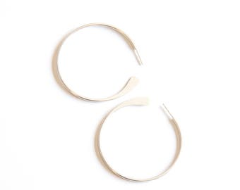 "Everyday classic hoop earrings handmade of sturdy silver wire with hammered ends for a sleek modern look - ""Hammered Tail Hoops - small"""
