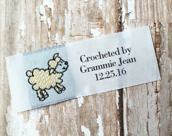 Crochet Labels, Woven Labels, Custom clothing Labels for Crocheting, Personalized Crochet Fabric Labels with woven Sheep Design