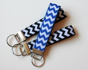 Key Chain Wristlet - Chevron Key Fob - Blue Black Wristlet - Ready to Ship