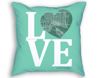 Jacksonville Florida Street Map Love Throw Pillow, Jacksonville Cushion, Jacksonville Pillow, Jacksonville Accent Pillow, Living Room Decor