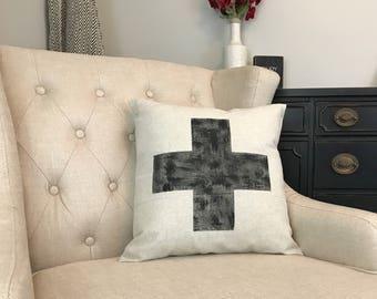 Rustic Swiss Cross Pillow - Black White Swiss Pillow - Swiss Cross Decor - New Farmhouse Pillow - Plus Sign Gift - Switzerland - Fixer Upper