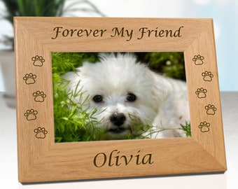FREE SHIPPING - Personalized Pet Memorial Frame for Dogs - Forever My Friend ..or.. Forever Our Friend - Free Sympathy Card - Fast Ship