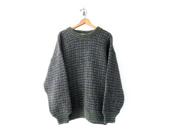 50% of Proceeds go to Planned Parenthood! Vintage Norwegian Sweater, Charcoal Gray, Moss Green, 60s/70s Oversized Jumper, XXL, Wool/Viscose