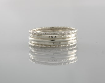 Silver Stacking Rings, Thin Silver Rings, Skinny Silver Rings, Sterling Silver Hammered Ring Set, Set of Stacking Rings, Thin Hammered Rings