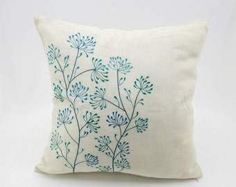 Throw Pillow Cover, Floral Pillow Cover, Teal Pillow, Beige Linen Pillow, Embroidery Cushion, Flower Pillow, Decorative pillows, Pillow Case