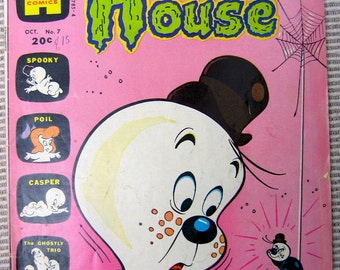 Spooky The Tuff Little Ghost Comic Book number 7, 1970s, Comic Book, Haunted House, Old Comic Book, Harvey Comic, Vintage Comic Book, Spider