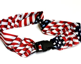 Patriotic Cooling Collar, Dog Neck Cooler, Stay Cool Cotton Fabric Bandana w/Buckle, Adjustable Size Extra Large 22 to 26 inch neck iycbrand