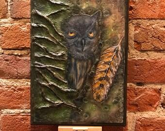 Encaustic Owl on wood