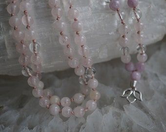 Heart Chakra Rose Quartz with 7 Loving Kunzite Stones Amplified by Clear Quartz 108 Plus 1 Knotted Mala with Lotus