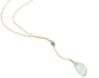 Sea Glass Drop Necklace, Gold Y Necklace, Sea Foam Sea Glass Necklace, Sea Glass Pendant