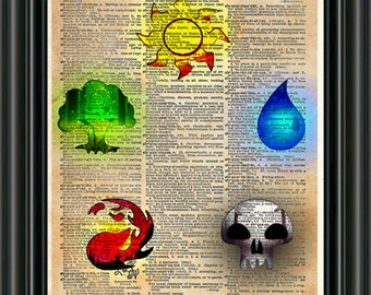Magic the Gathering art, magic the gathering token symbols, Geeky art print