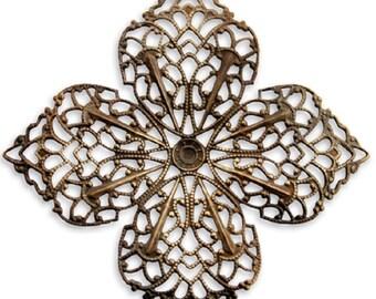 Vintaj Clover Petal Filigree 59mm in Natural Brass, Jewelry Making, Scrapbooking, F410