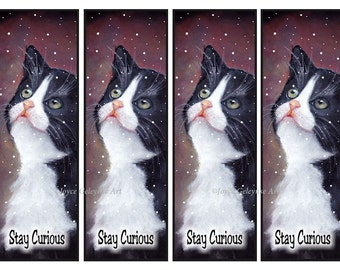 Cat Printable Bookmarks, Stay Curious, Tuxedo Cat in Snow, Original Art, Book Club, Kids, Reading, Literacy, Kitten in Snow