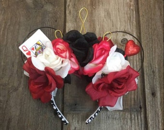 Paint The Roses Red Mouse Ears | Queen Of Hearts Floral Wire Mouse Ears | Alice In Wonderland Floral Wire Mouse Ears | Floral Mouse Ears |