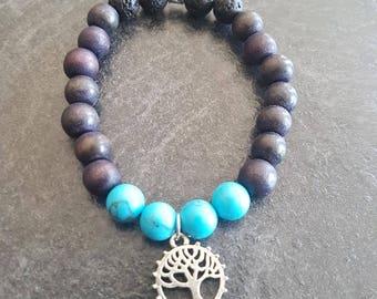 Howlite beaded bracelet with tree of life gem