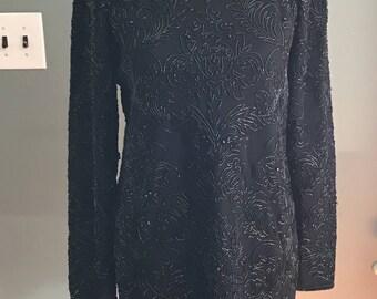 Adrienne Vittadini Beaded Black Sweater Vintage