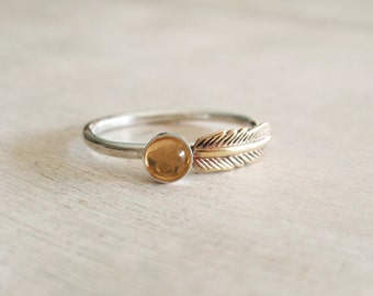 Citrine ring, sterling silver ring with citrine and gold brass feather, feather ring, citrine stackable ring, November birthstone ring