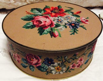 Vintage Large ROSE Tin Box with Embossing Made by Guildcraft Tan