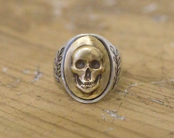 Memento Mori, Biker Ring, Men's Ring, Gifts for Him, Mixed Metal ring, Signet Ring, Mexican Souvenir Ring, Fathers Day, Vintage Inspired