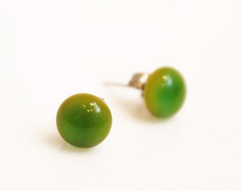Green Glass StudEarrings - Handmade