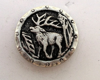 Sterling Silver Elk Button Sewing  RF074
