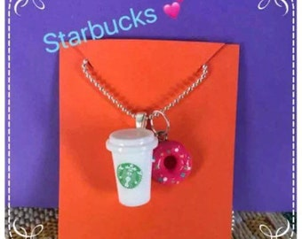 Starbucks and Doughnut Charm Necklace