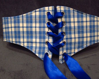 Plus Size Corset Underbust Corset Reversible Belt Renaissance Corset Country Western Waist Cincher Folk Costume Blue Plaid Old Rose Waist