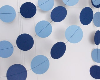 Party Paper Garland, Light Blue & Navy Garland, Boy Birthday Party, Baby Shower, Party Decoration, 12'