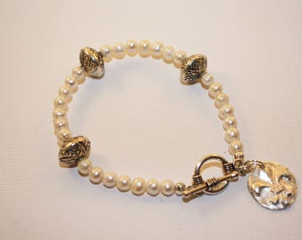 Silver Clay Charm and Pearls Bracelet