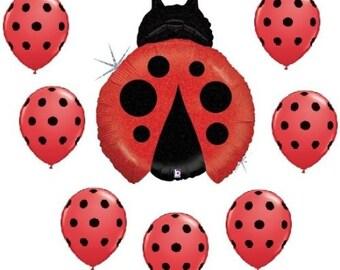 Ladybug Red Black dot Balloon Bouquet kit kids party balloons garden party decor supplies polka dot