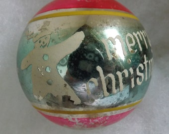 Vintage Shiny Brite Snowman Merry Christmas ornament silver aqua pink and yellow stripe stencil ornament