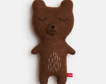 Wilfred the Bear Knitted Lambswool Soft Toy Plush - In stock