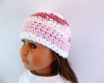 18 inch Doll  Crochet Hat  Old Rose Pink and White Variegated Yarn Accessories Toys
